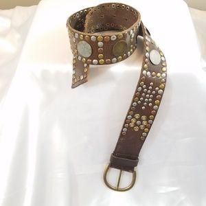 Linea Pelle | Vintage Style Studded Leather Belt